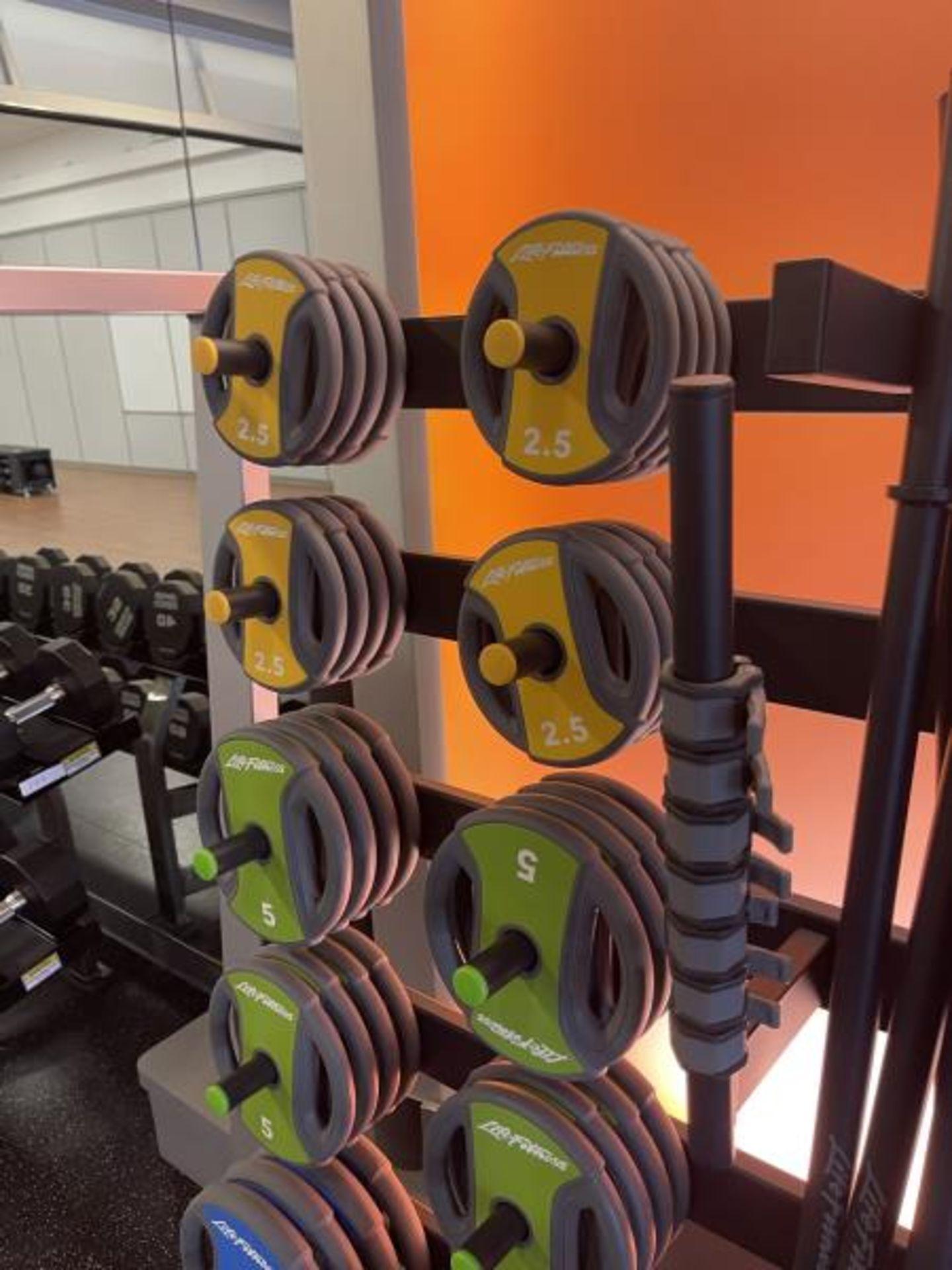 Life Fitness Studio Barbell Pack Urethane 2.5#, 5#, 10#, 13 Bars, Rack Model GBB - Image 8 of 9