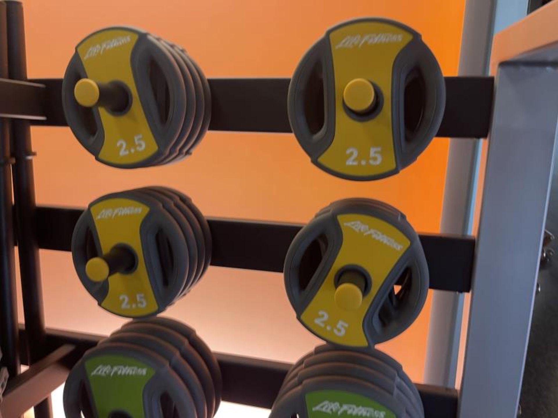 Life Fitness Studio Barbell Pack Urethane 2.5#, 5#, 10#, 13 Bars, Rack Model GBB - Image 4 of 9
