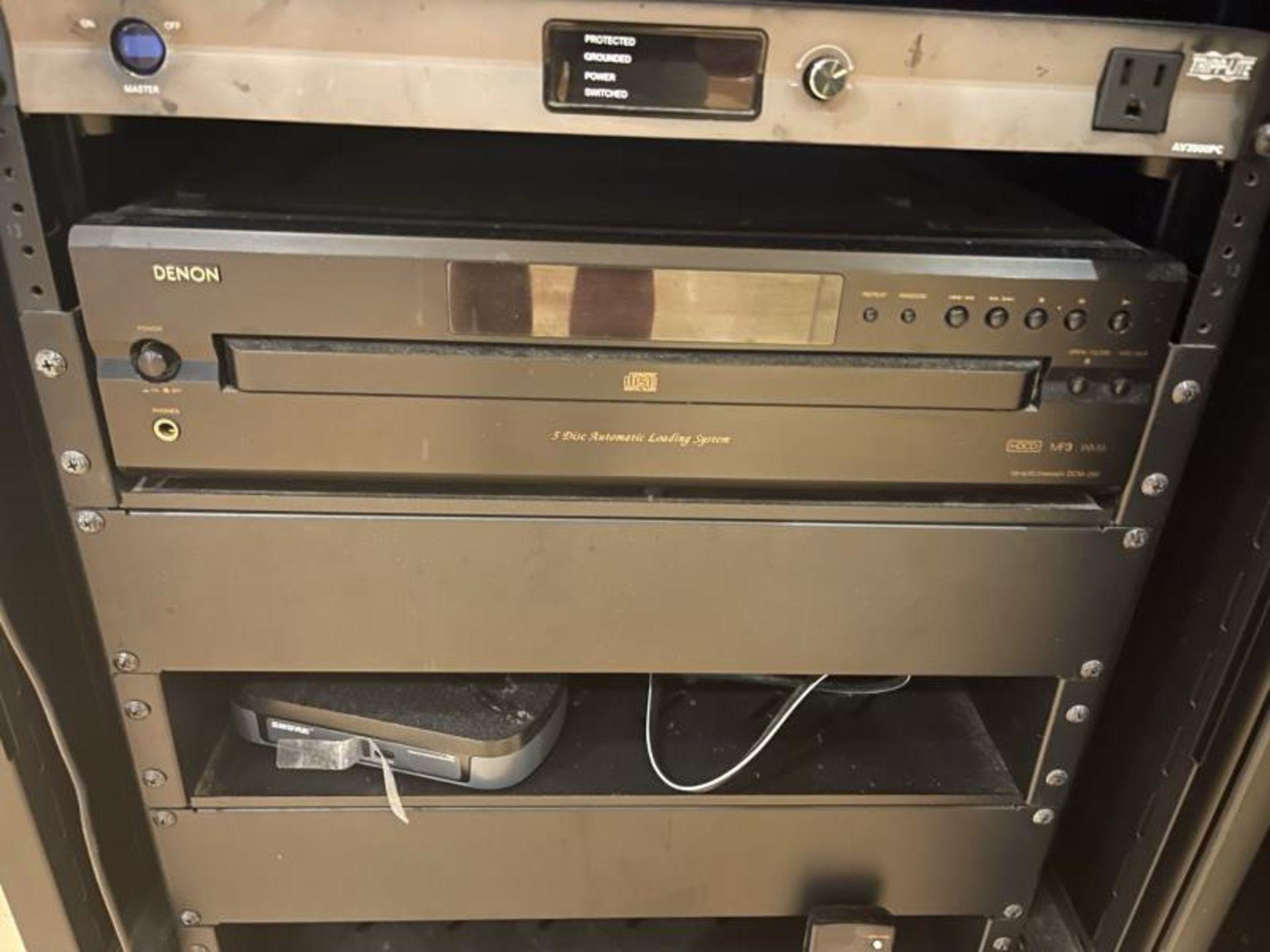 Omnimount Design Audio Cabinet with Crown 1160MA Tripplite AV3500PD, Denon 5 Disk CD Changer, Shure - Image 3 of 4