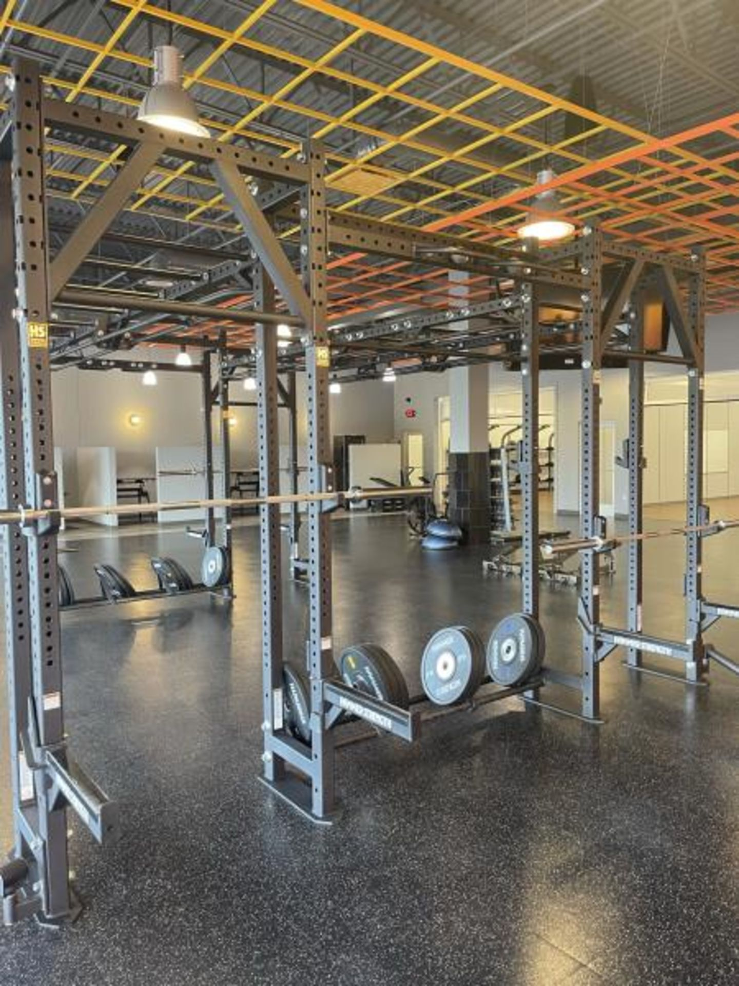Hammer Strength Multi Station Cage with Hammer Strength Weighted Plates, 4 Bars - Image 6 of 11
