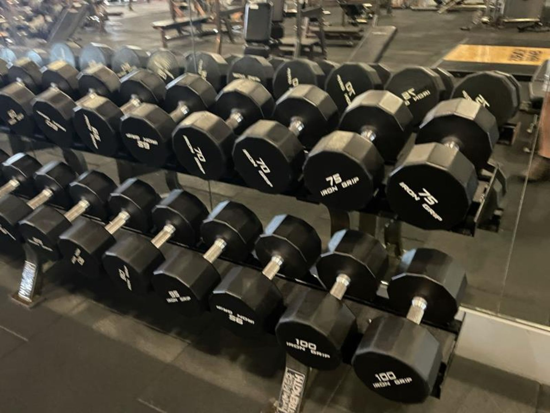 Iron Grip Dumbbell 5-100# with Hammer Strength 2 Tier Racks - Image 7 of 9