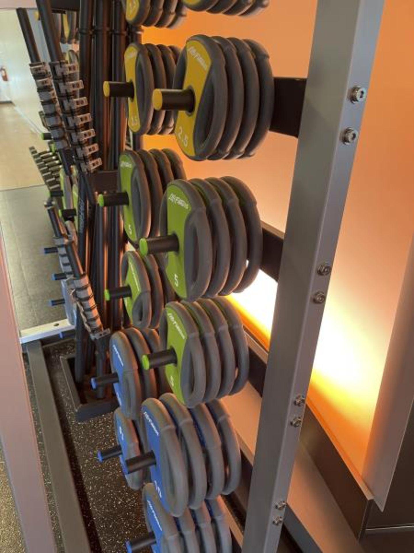 Life Fitness Studio Barbell Pack Urethane 2.5#, 5#, 10#, 13 Bars, Rack Model GBB - Image 3 of 9