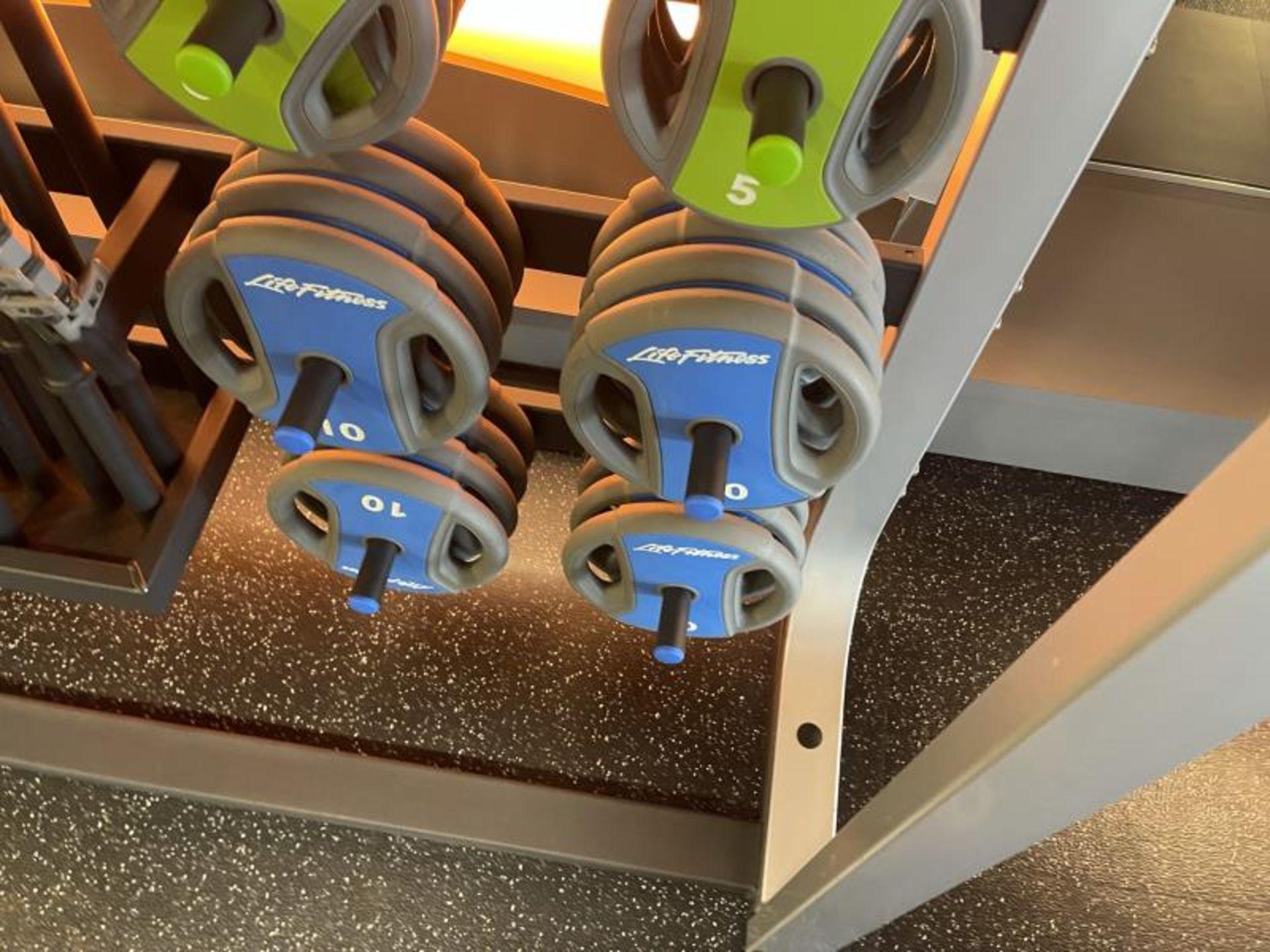 Life Fitness Studio Barbell Pack Urethane 2.5#, 5#, 10#, 13 Bars, Rack Model GBB - Image 6 of 9