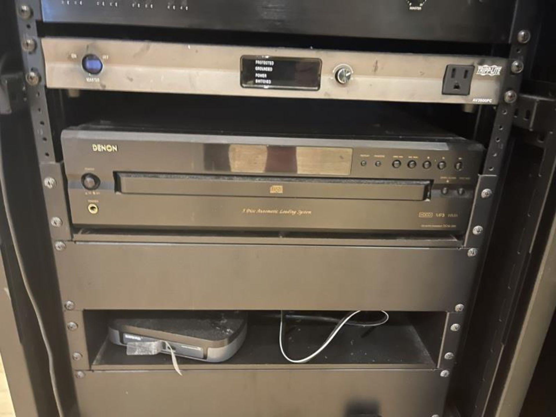 Omnimount Design Audio Cabinet with Crown 1160MA Tripplite AV3500PD, Denon 5 Disk CD Changer, Shure - Image 4 of 4