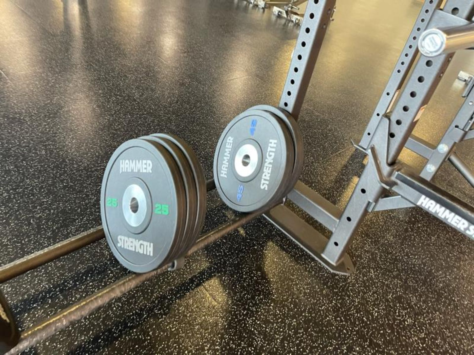 Hammer Strength Multi Station Cage with Hammer Strength Weighted Plates, 4 Bars - Image 8 of 11