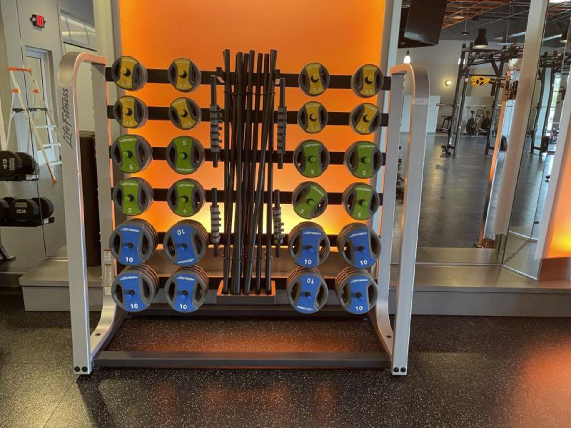 Life Fitness Studio Barbell Pack Urethane 2.5#, 5#, 10#, 13 Bars, Rack Model GBB
