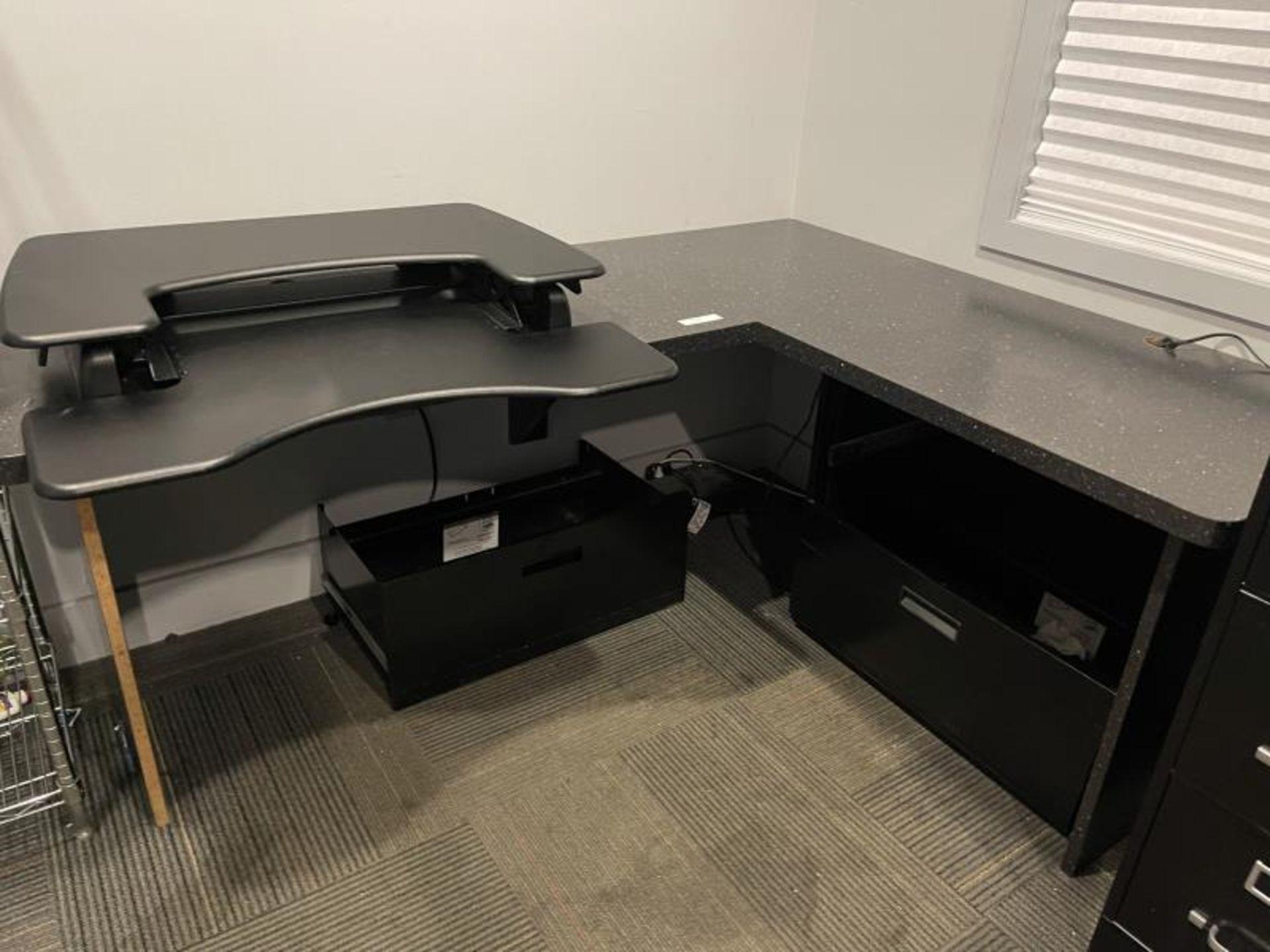 L-Shaped Laminate Desk with Varidesk ProPlus 360