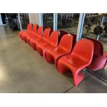 Lot of 7 Red Molder Plastic Chairs