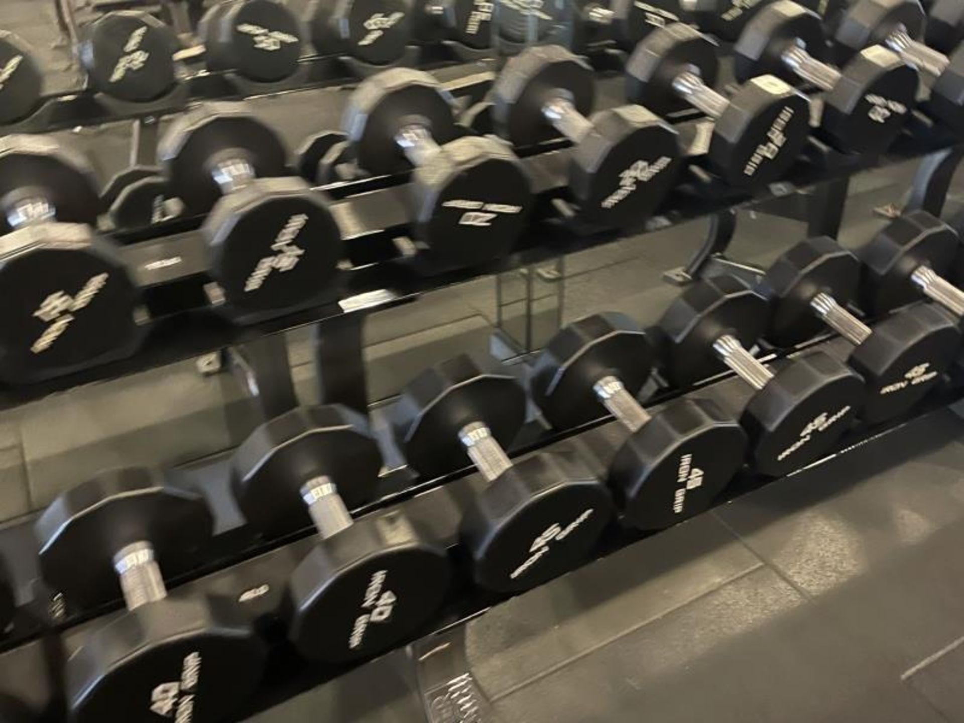 Iron Grip Dumbbell 5-100# with Hammer Strength 2 Tier Racks - Image 4 of 9