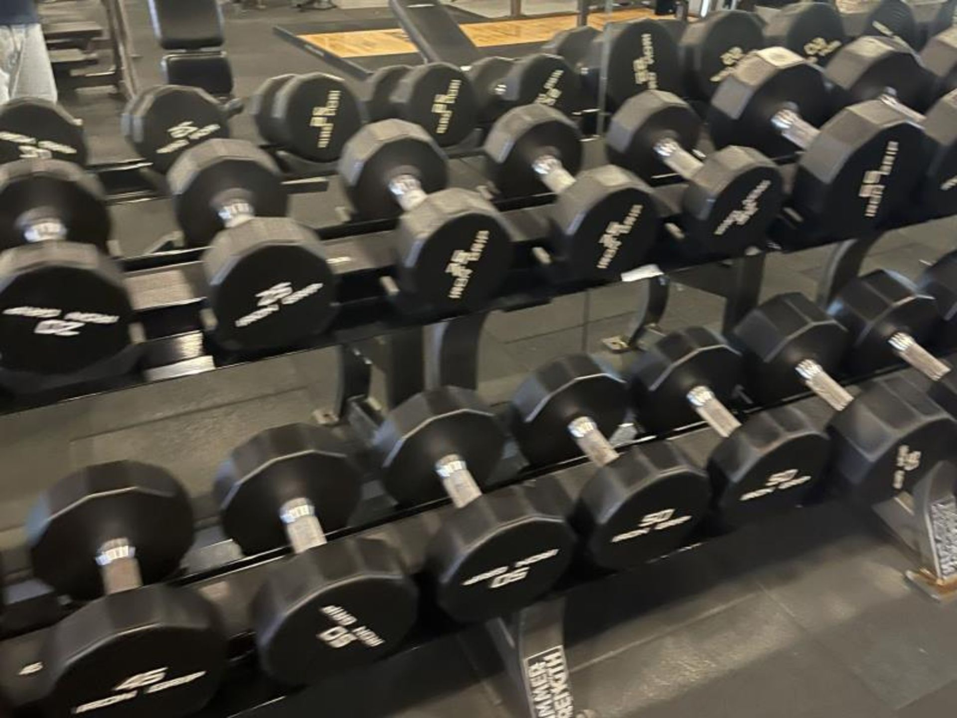 Iron Grip Dumbbell 5-100# with Hammer Strength 2 Tier Racks - Image 5 of 9