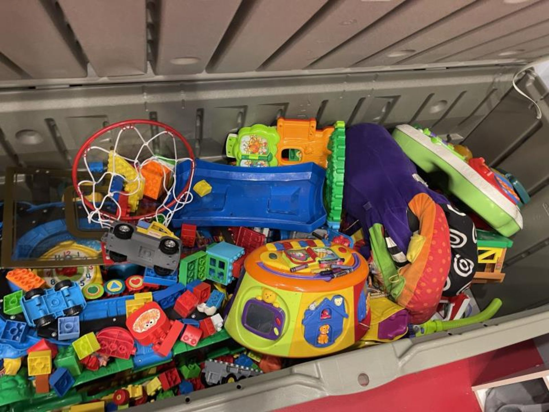 Group Lot of Children's Toys with Play Kitchen & Plastic Bins - Image 2 of 4