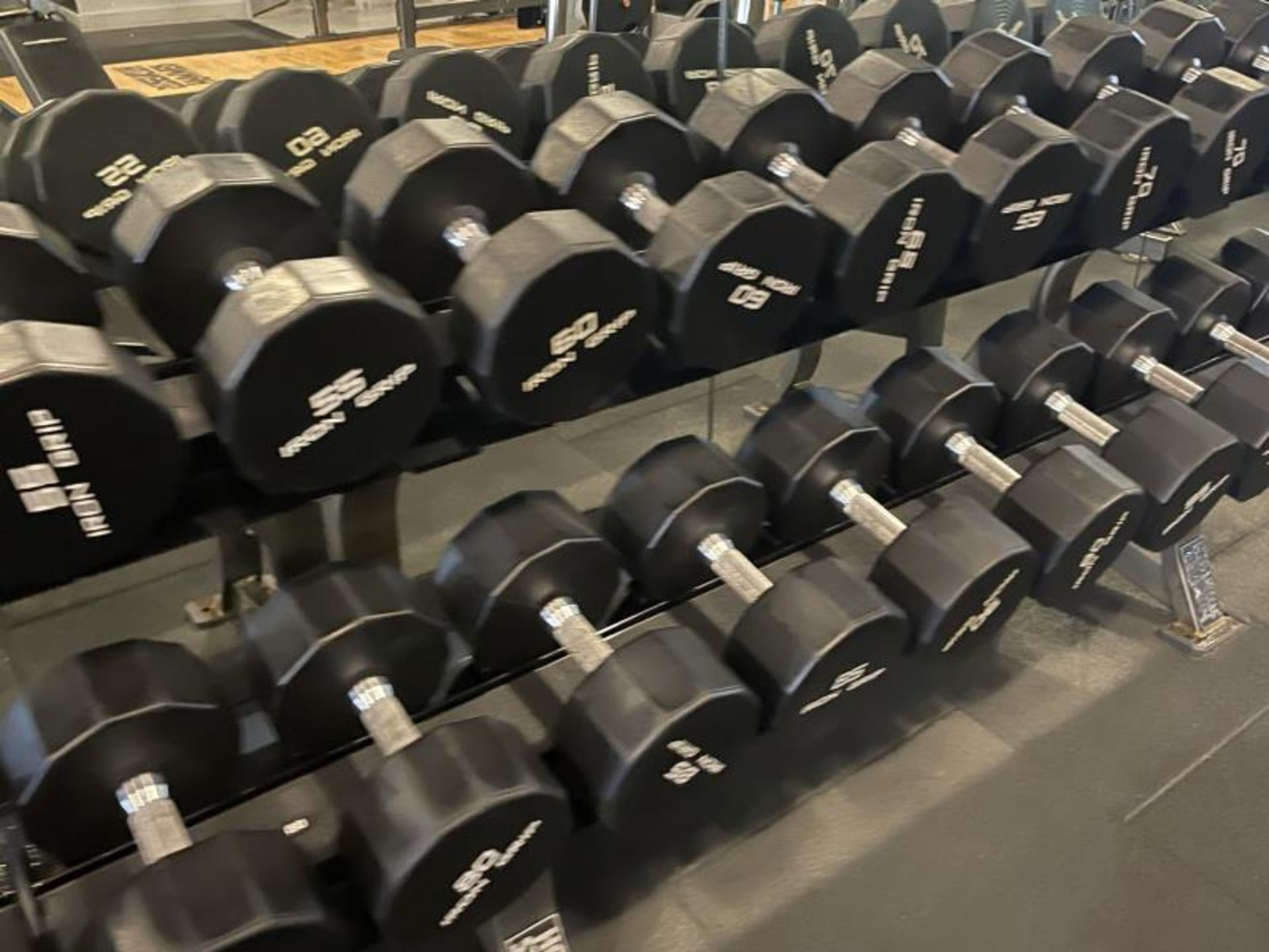 Iron Grip Dumbbell 5-100# with Hammer Strength 2 Tier Racks - Image 6 of 9
