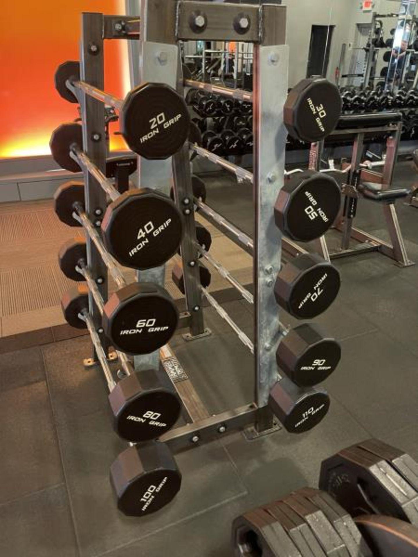 Hammer Strength A-Frame Rack with 10 Iron Grip Bars, 20-110#m M: FWBAR-A - Image 2 of 3