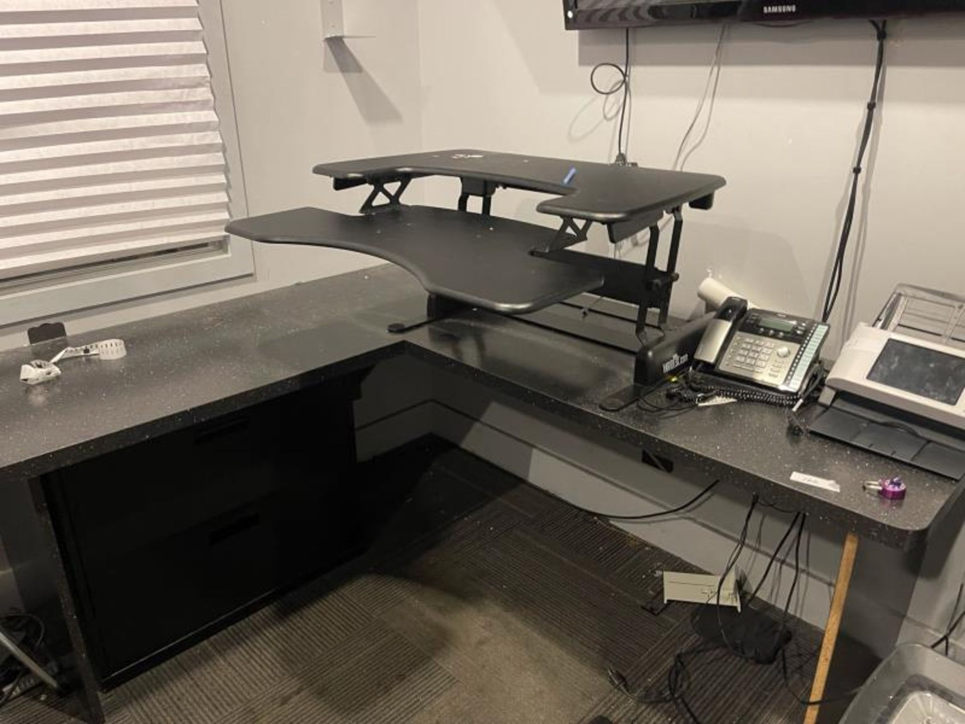 L-Shaped Laminate Desk with Varidesk Attached, 2 Drawer Metal Lateral File