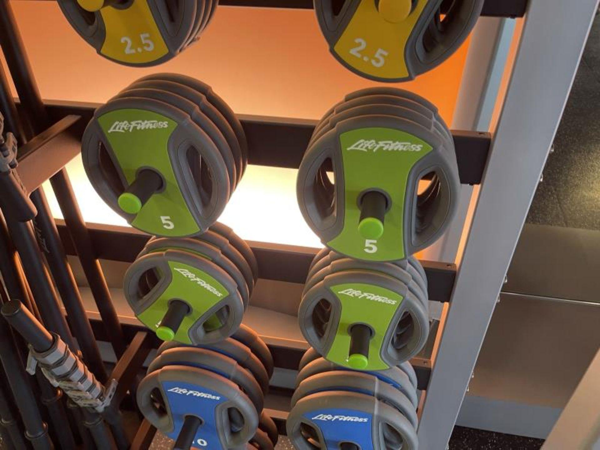 Life Fitness Studio Barbell Pack Urethane 2.5#, 5#, 10#, 13 Bars, Rack Model GBB - Image 5 of 9