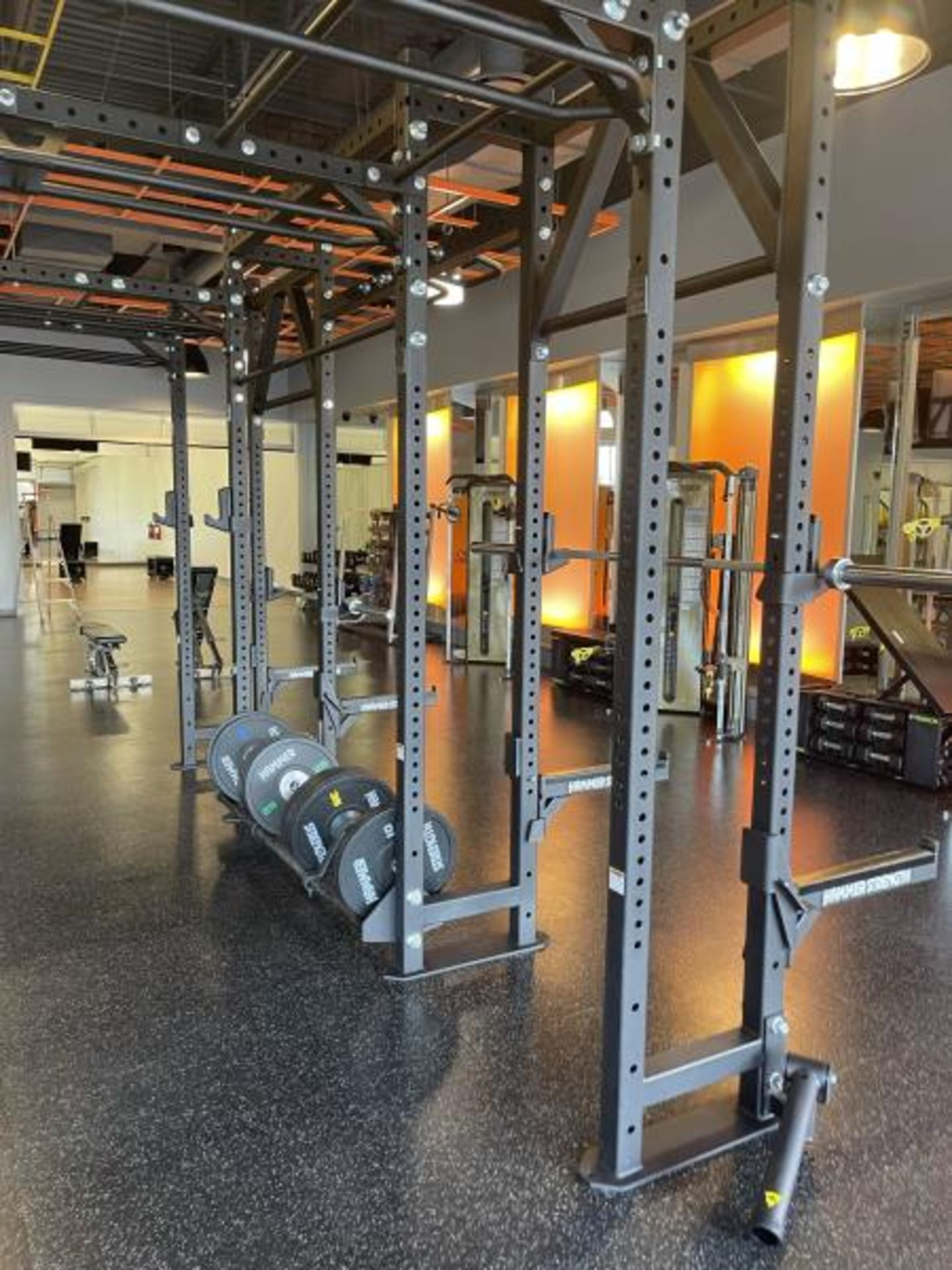 Hammer Strength Multi Station Cage with Hammer Strength Weighted Plates, 4 Bars - Image 4 of 11