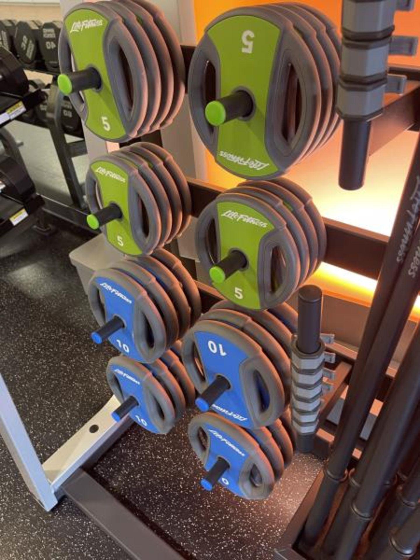Life Fitness Studio Barbell Pack Urethane 2.5#, 5#, 10#, 13 Bars, Rack Model GBB - Image 9 of 9