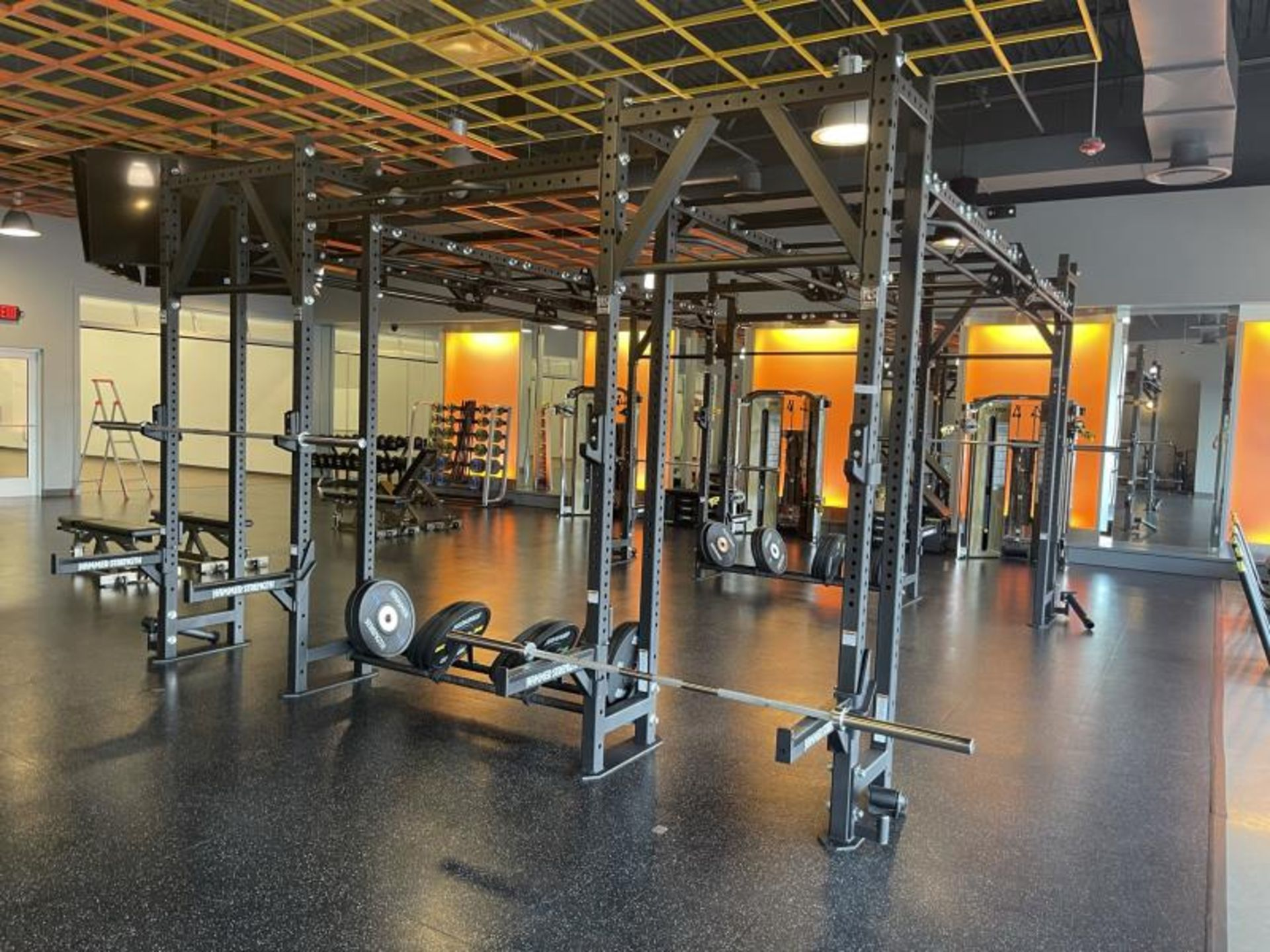 Hammer Strength Multi Station Cage with Hammer Strength Weighted Plates, 4 Bars - Image 11 of 11