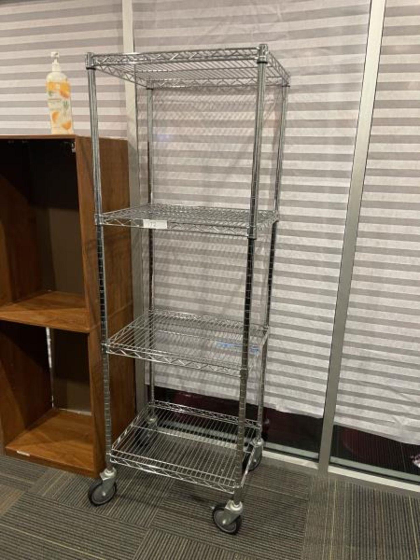 Lot of 4 Metal Wire Shelf on Casters, 2'x2'x6'