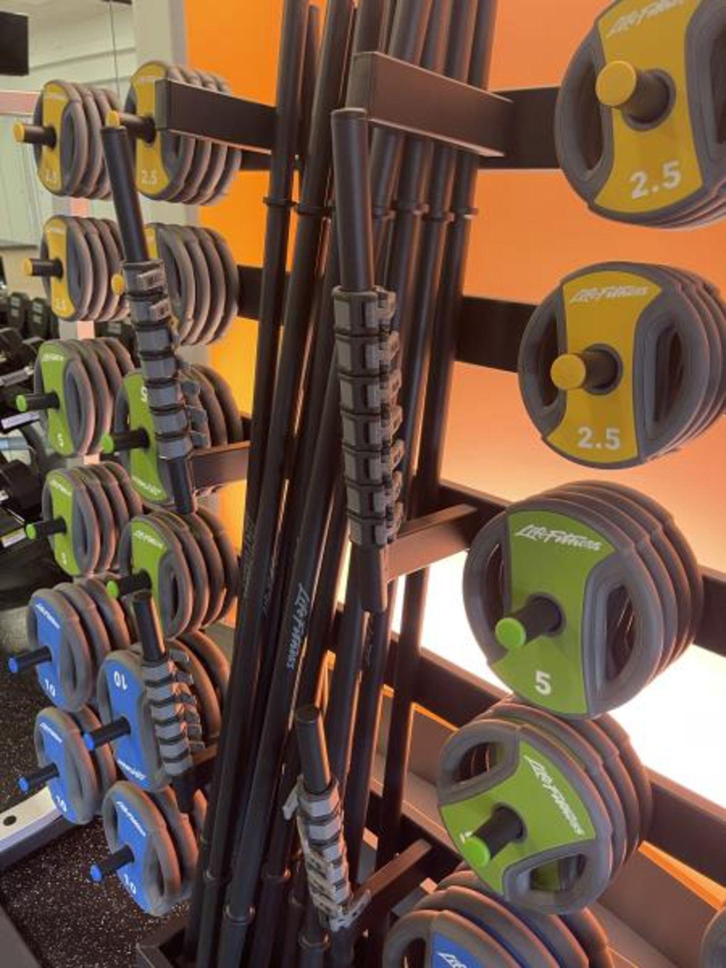 Life Fitness Studio Barbell Pack Urethane 2.5#, 5#, 10#, 13 Bars, Rack Model GBB - Image 7 of 9