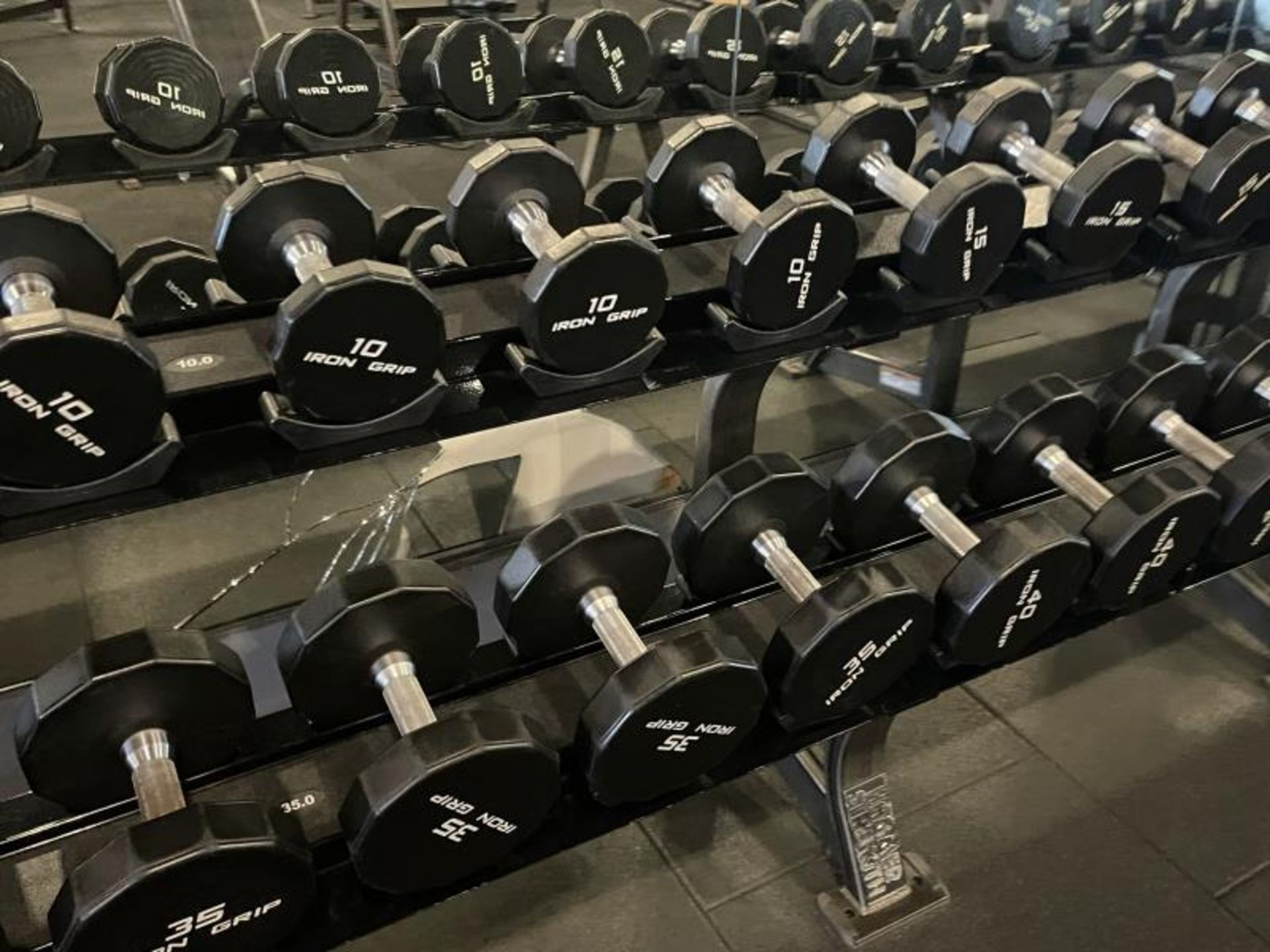 Iron Grip Dumbbell 5-100# with Hammer Strength 2 Tier Racks - Image 3 of 9