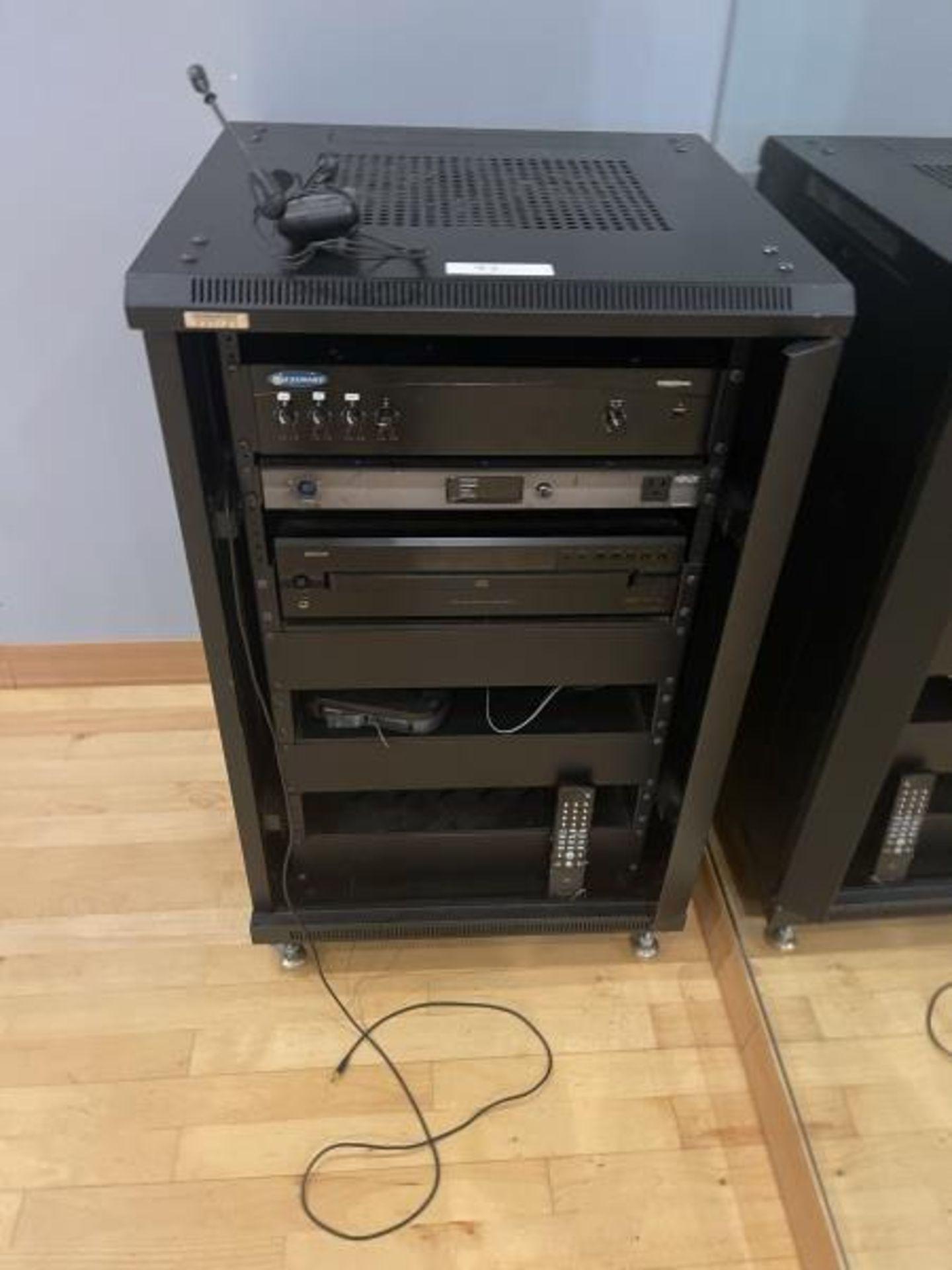 Omnimount Design Audio Cabinet with Crown 1160MA Tripplite AV3500PD, Denon 5 Disk CD Changer, Shure