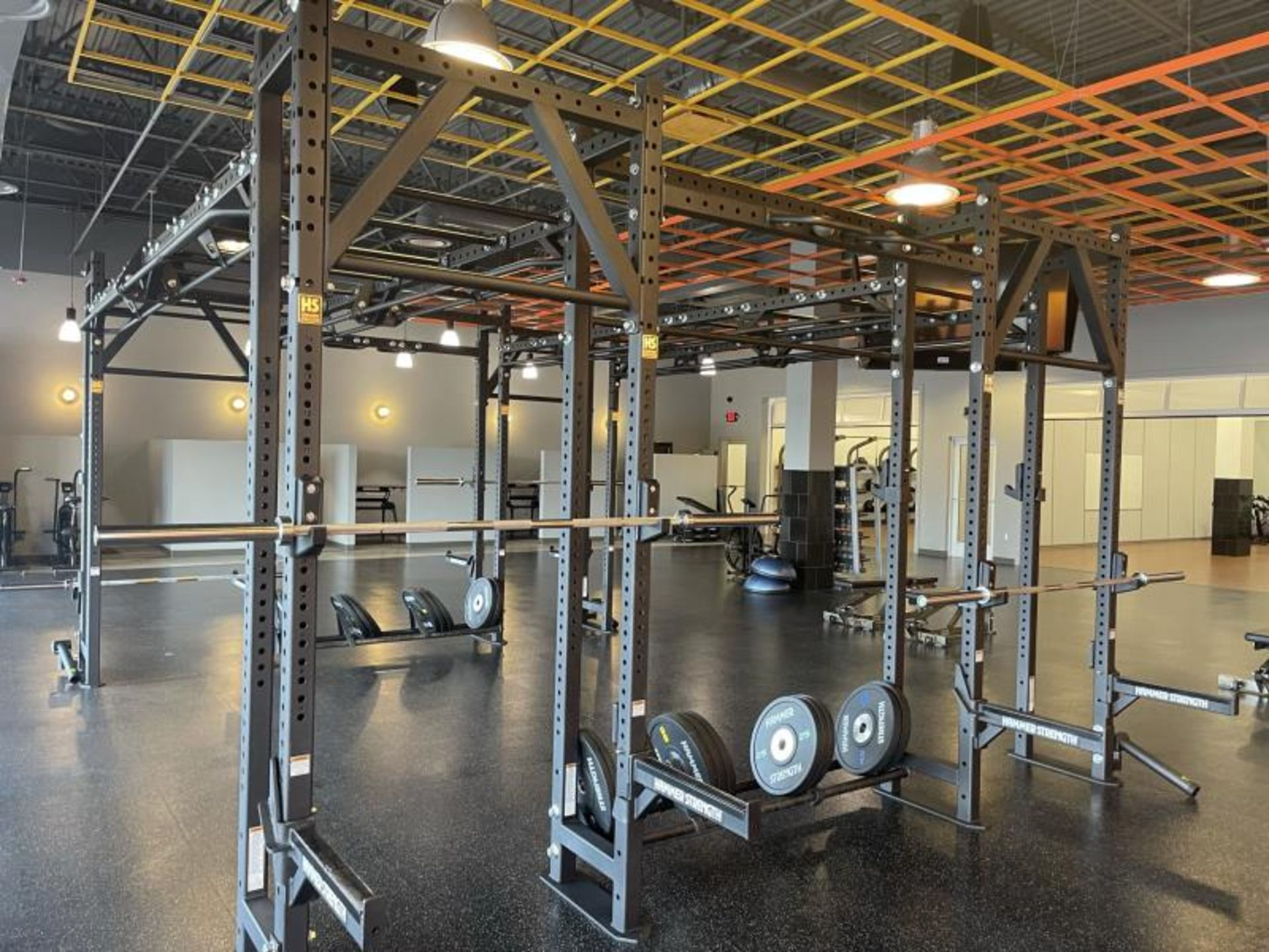 Hammer Strength Multi Station Cage with Hammer Strength Weighted Plates, 4 Bars - Image 7 of 11