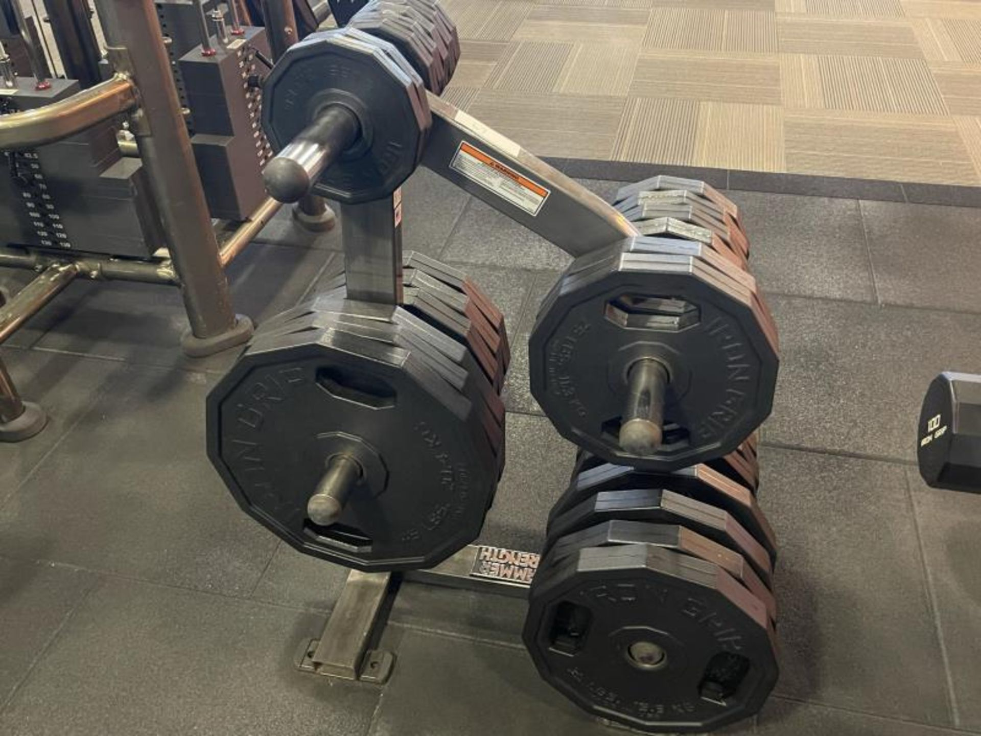 Hammer Strength Rack with 26 Iron Grip Weighted Plates