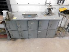 """Steel Bench with Lockers, 34"""" x 72"""" and Columbian 5"""" Bench Vise"""