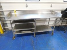 """Stainless Steel Table on Casters, 30"""" x 78"""" x 36"""" H"""