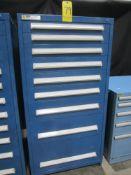 "Stanley Vidmar 9-Drawer Parts Cabinet, 30"" W X 28"" D X 59"" High"