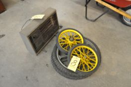 (2) Pairs Cart Wheels and (1) Electric Heater