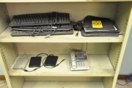 Lot, Keyboards, Mouse Pads, Floppy Drives and Phone on (2) Shelves
