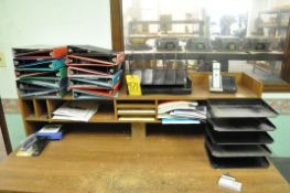 Lot, Various Office Supplies on (1) Desk, (Desk Not Included)