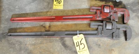 "(2) 36"" Pipe Wrenches Under (1) Bench"