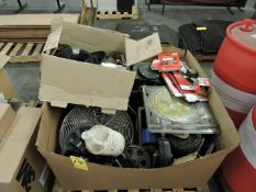 Gaylord Box of Heavy Duty Castors, Sprockets, Saw Blades and Miscellaneous