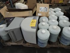 Pallet with (13) New Containers of Nitty Gritty, Hand Soap, Gojo and Dispensers