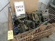 Wire Basket Full of Industrial Motors and Parts and Pallet of Motors, Parts and Scrap