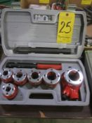 """Hand Operated Pipe Threading Kit with Ratchet Handle and Threading Dies from 1/4"""" to 1"""""""