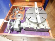 """Moore 11"""" Vertical/Horizontal Ultra Precision Rotary Table with Cabinet and Numerous Moore Jig"""