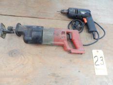 Black & Decker Drill and Milwaukee Sawazall (No Battery)