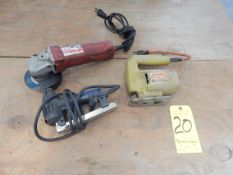 """Lot, Milwaukee 4"""" Right Angle Grinder, Black & Decker Jig Saw, and Black & Decker Electric Stapler"""