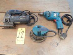 Lot, Makita Drill, Makita Palm Sander, and Bosch Jig Saw