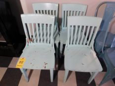 (4) Teal Wooden Chairs