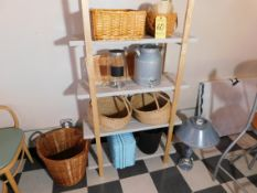 Metal Shelving with (5) Shelves, Misc. Baskets, Lamp and (2) Water Pitchers