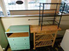Small Wooden Dresser, 3-Shelf Metal Rack, Pine Butcher Block Table on Wheels