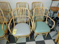 (4) Wooden Chairs with Vinyl Seats, (2) Teal Seats, (2) Gray Seats