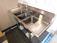 """Three Bay Stainless Sink, 58"""" L x 20"""" W x 36"""" T, with Faucets and Hoses"""