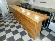"12' Wood Finish Bar, Mill Cut Hardwood Slab, Epoxy Counter Top, Wood Plank Sides, 12' L x 17"" W x"