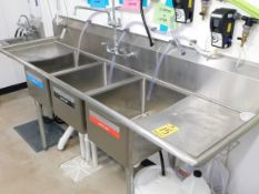 """Three Bay Stainless Sink,, 80"""" Lx 26"""" W x 37"""" T, with Faucets and Hoses"""